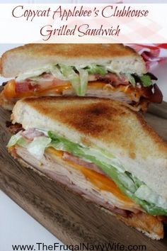 Copycat Applebee's Clubhouse Grilled Sandwich - Save Money and make it at home today! I love the grilled and melting cheese.