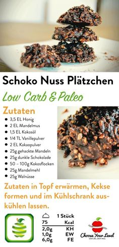 Schoko Nuss Plätzchen - Choose Your Level™ - Sharlene Lyon Paleo Chocolate, Chocolate Cookies, Paleo Dessert, Low Carb Protein, Low Carb Desserts, Bon Appetit, Food Videos, Sweet Recipes, Cookie Recipes