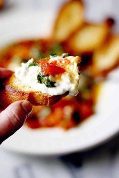 Burrata with White Wine and Garlic Sautéed Tomatoes • Steele House Kitchen