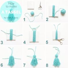 How to make a tassel Inspiration Faser Kunst Stormy Sky Shawl pattern by. - How to make a tassel Inspiration Faser Kunst Stormy Sky Shawl pattern by Life Is Cozy - Diy Home Crafts, Easy Diy Crafts, Yarn Crafts, Pom Pom Crafts, Handmade Crafts, Diy Embroidery Thread, How To Make Tassels, Making Tassels, Diy Room Decor