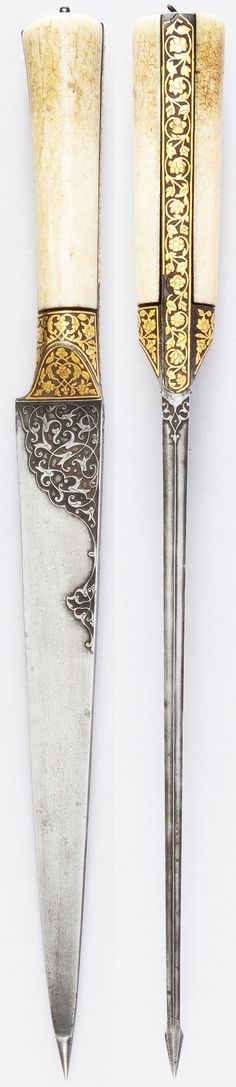 Iranian kard dagger, ca. 1800, steel, ivory, gold, wood, leather, iron, L. without sheath 15 7/16 in. (39.2 cm); W. 1 1/4 in. (3.2 cm); Wt. 14.8 oz. (419.6 g), Met Museum, Bequest of George C. Stone, 1935.