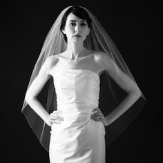 Sara Gabriel bridal  veils at Perfect Details. Meghan Slipper Veil with pencil edge trim.  Simple, clean with elongated line. 3 lengths available.