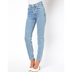 American Apparel Short Leg High Waist Jean ($78) ❤ liked on Polyvore featuring jeans, pants, bottoms, calças, blue, highwaist jeans, blue jeans, american apparel, highwaisted jeans y high-waisted jeans