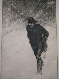 Vagabond sous la neige (1902), lithographie, par Théophile Alexandre Steinlen | Exposition Bohèmes - Grand Palais, Paris