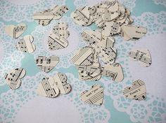 Music sheet handmade confetti vintage music love by Miniandmol