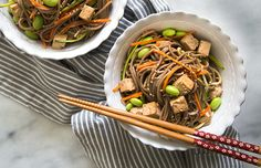 Balsamic Ginger Soba Noodles: Simple yet satisfying, this quick lunch is a healthy diversion from tiresome salads. Carrots, zucchini and edamame add color and crunch while nutty soba noodles serve as the base.