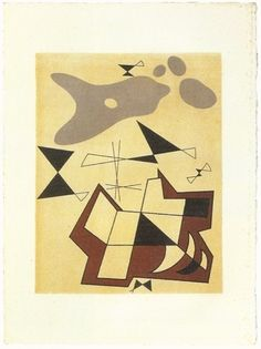 Jean Arp, Alberto Magnelli, Sophie Taeuber Dessins collectifs faits à Grasse / Collective drawings done in Grasse Lithographie / Lithograph 38.5 x 28.5 cm 1941-1942