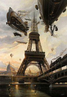 """La Tour"" by Didier Graffet air ships / airships over Paris Eiffel Tower steampunk / dieselpunk setting inspiration Steampunk Kunst, Steampunk Artwork, Steampunk Airship, Steampunk Fashion, Steampunk Wallpaper, Steampunk Clothing, Gothic Fashion, Gothic Steampunk, Victorian Gothic"