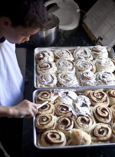 Cinnamon Buns | I honestly don't know which I like best....the recipe or the post about the family's 12 yr. old son who made these as his summer job!