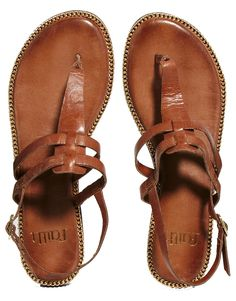 Faith Brown Strap Flat Sandals