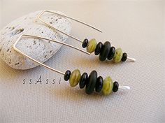 NEW addition to the ssAssi 'long & lovely' collection - Argentium Sterling Silver & rustic mint and black Czech glass earrings $19AUD including postage.