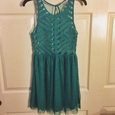 ONE DAY SALE NEW Gorgeous Teal Lace Dress Brand new Teal lace dress with sheer top and beautiful opening in back! Fp for exposure Free People Dresses Mini