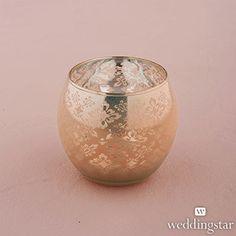 Small Glass Globe Votive Holder With Reflective Lace Pattern