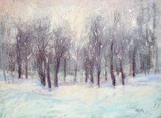 Winter Snow Landscape Snowy Forest Original Pastel Painting 9x12  by Karen Margulis psa