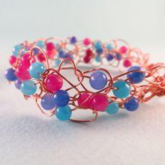 ON SALE Wire Crochet bracelet, Ooak, Handmade bracelet, Copper bracelet, wire crochet, Jade Bracelet