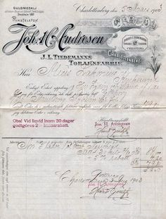 Faktura Joh. H. Andresen, Tiedemanns tobakksfabr. Charlottenberg, Sverige 1903