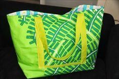Tuto photos d'un sac plage XXL (dimensions adaptables facilement) avec fermeture par pression, poches intérieures et extérieures.