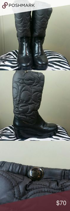 Coach Cantina Brown Boots Sz 7 Insulated  Minor peeling at crease (see photo) Priced accordingly Coach Shoes Winter & Rain Boots