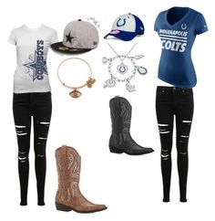 """""""colts or cowboys"""" by kristal-richter on Polyvore featuring New Era, Miss Selfridge, Avenue, NIKE and Alex and Ani"""