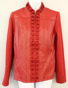PETER NYGARD Size Small Women's Leather Laser Cut Zip-Up Red Jacket NWT $128  | eBay