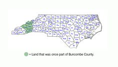 Interesting map showing Buncombe county's historic borders.
