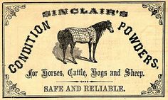 Vintage Clip Art - Antique Pharmacy Labels - Horse - The Graphics Fairy