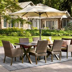 Made of wicker<br>&bull; Rust and weather resistant<br><br>Entertain family outdoors with the Halsted Wicker Patio Dining Set from Threshold. This outdoor dining set seats 6 with a table that has a hole to accommodate an umbrella. Pergola Patio, Pergola Plans, Pergola Ideas, Pergola Kits, Vinyl Pergola, Patio Ideas, Iron Pergola, Steel Pergola, Corner Pergola