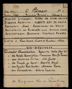 Caderno de notas de Fernando Pessoa : O palrador - [1903] . - [55] p. : il.; 20,5 x 16,1 cm Revista manuscrita dirigida pelo Dr. Pancrácio e outros colaboradores inventados por Pessoa.