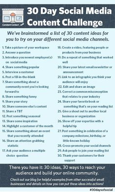 Not Sure What to Post on Social Media? Try This Social Media Challenge! What's the hardest part of using social media for your business or organization? If you're like most small business owners, coming up with content is at th Social Marketing, Inbound Marketing, Affiliate Marketing, Marketing Online, Content Marketing, Internet Marketing, Marketing Strategies, Marketing Plan, Marketing Calendar