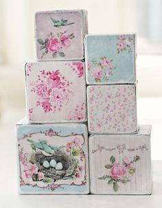 Country Escape Shabby Chic Wooden Decorative Blocks
