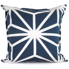 Navy Blue and White Geometric Decorative Pillow Cover 18x18, 20x20 or 22x22
