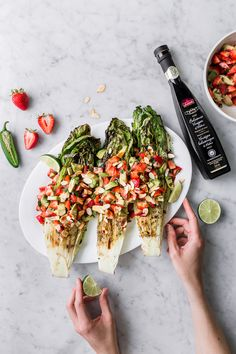 Grilled Romaine Salad with Strawberry & Avocado Salsa - The Green Life