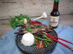 Saté-Spieße von der Ente in Craft Beer Marinade auf Wokgemüse und Reis - Mario´s Fire Food & Fine Food Impressum: http://www.mario-kaps.de/impressum/