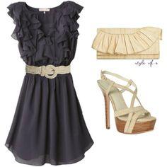 Grey ruffle dress with cream