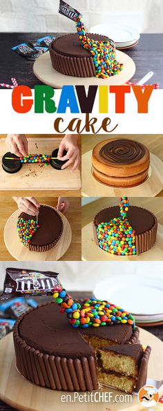 This cake will make you float! Make this recipe step by step and you'll get a cake that will blow all your friends minds! - Recipe Dessert : Gravity cake by. Torta Candy, Candy Cakes, Cupcake Cakes, Cupcakes, Anti Gravity Cake, Gravity Defying Cake, Torte Nutella, Homemade Cake Recipes, Drip Cakes