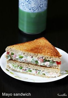 Veg mayonnaise sandwich recipe – A quick veg sandwich recipe that can be made in minutes with just few ingredients. This can be served for breakfast or lunch or snack. To make mayo sandwich, mostly wh (Sandwich Recipes) Indian Food Recipes, My Recipes, Snack Recipes, Cooking Recipes, Indian Sandwich Recipes, White Bread Sandwich Recipes, Chicken Sandwich, Simple Veg Sandwich Recipes, Recipes With Bread
