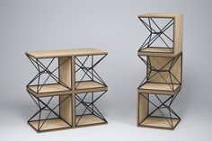 """Metal and Plywood side table from """"X"""" collection."""