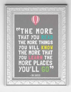 Dr Suess Print / Poster: Oh The Places You'll Go 11 x 14 Instant Download Digital File