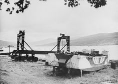 The transporter which takes the landing craft from the water to the beach at HMS QUEBEC, Inveraray.
