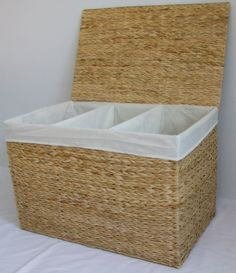 Triple Laundry Basket Sorter Storage Hamper with 3 Three Compartments Laundry Basket Natural Color