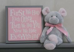 Gray and Pink Baby Nursery Wall Decor Grey Wall by NelsonsGifts, $15.95