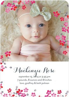Delicate Blossoms - Girl Photo Birth Announcements - Papier Fabrik - Cranberry Red #baby