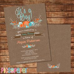 Fall Baby Shower Invitation for a Boy, with Aqua, Orange Pumpkins Rustic Theme…