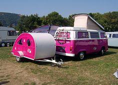 Hot Pink VW van and teardrop trailer