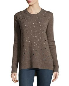 Cashmere Grommet-Detail Sweater, Chestnut by Michael Kors at Neiman Marcus.