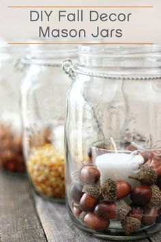 All you need are candles, mason jars, and beautiful fall fillers to assemble these beautiful autumn-themed hanging decorations.
