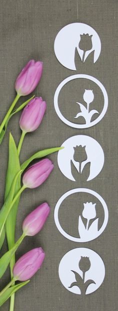 Tulips Silhouette Plotterfreebie SVG & DXF - Plotted spring decoration in my style: geometric & unfussy. The Plotter-Freebie includes 2 tulip mo -