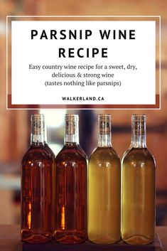 Parsnip wine recipe. This easy to make country wine is sweet, dry and strong. This is a great tasting wine and don't worry, it tastes nothing like parsnips!