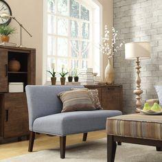 INSPIRE Q Wicker Park Light Blue Linen Armless Loveseat | Overstock.com Shopping - Great Deals on INSPIRE Q Sofas & Loveseats