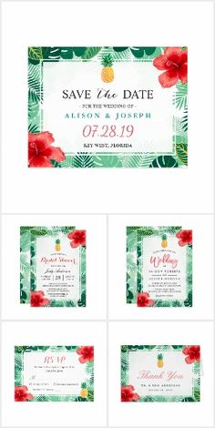 SAVE THE DATE WEDDING SET COLLECTION TROPICAL Pineapple Hibiscus Luau Botanical Palms Invites Invitations Announcements RSVP Thank You Cards and more!